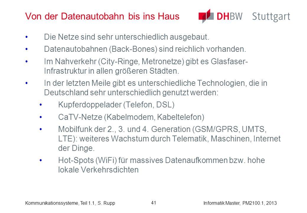 Kommunikationssysteme, Teil 1.1, S. RuppInformatik Master, PM2100.1, 2013 41 Von der Datenautobahn bis ins Haus Die Netze sind sehr unterschiedlich au