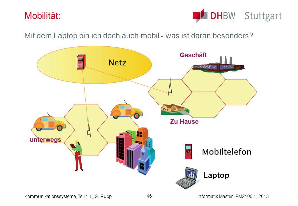 Kommunikationssysteme, Teil 1.1, S. RuppInformatik Master, PM2100.1, 2013 46 Mobilität: Mit dem Laptop bin ich doch auch mobil - was ist daran besonde