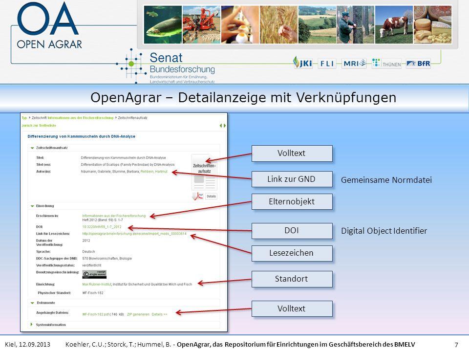 Koehler, C.U.; Storck, T.; Hummel, B. - OpenAgrar, das Repositorium für Einrichtungen im Geschäftsbereich des BMELVKiel, 12.09.2013 7 OpenAgrar – Deta