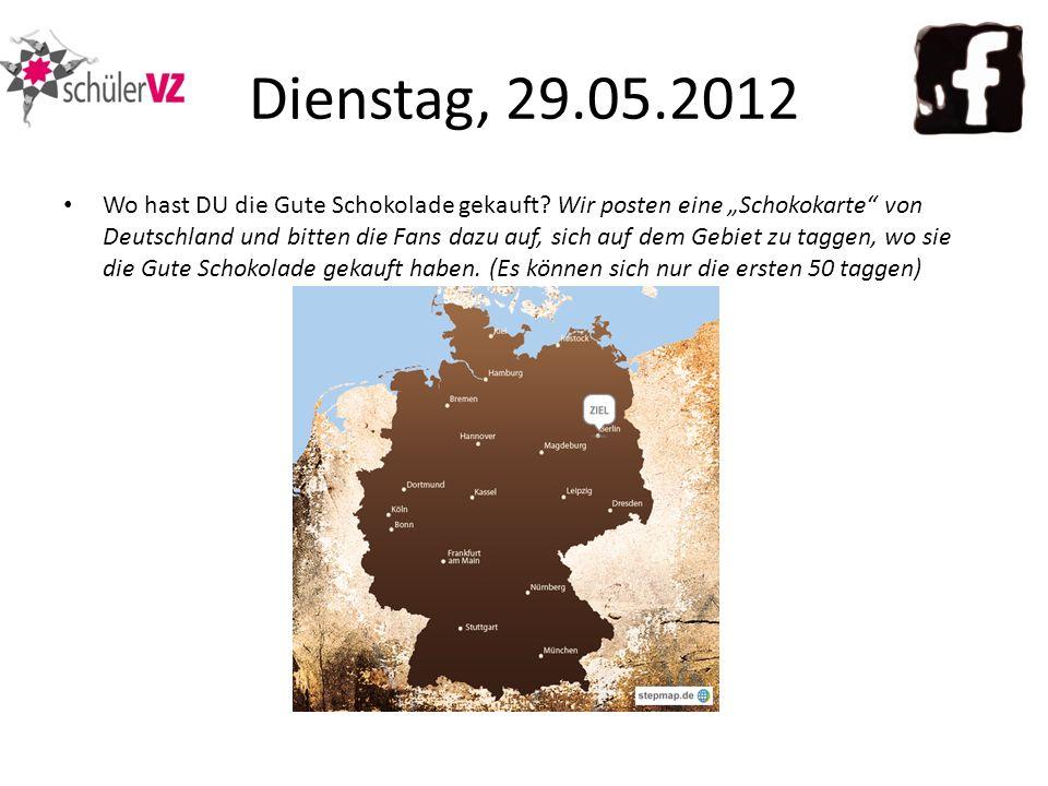 Wo hast DU die Gute Schokolade gekauft? Wir posten eine Schokokarte von Deutschland und bitten die Fans dazu auf, sich auf dem Gebiet zu taggen, wo si