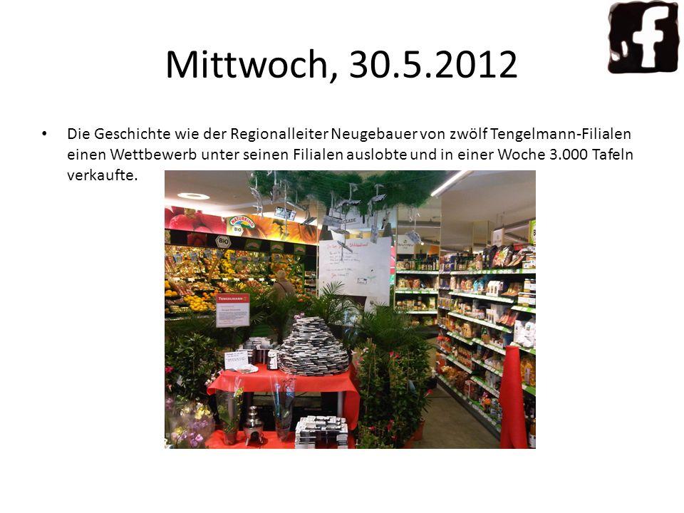 Die Geschichte wie der Regionalleiter Neugebauer von zwölf Tengelmann-Filialen einen Wettbewerb unter seinen Filialen auslobte und in einer Woche 3.000 Tafeln verkaufte.