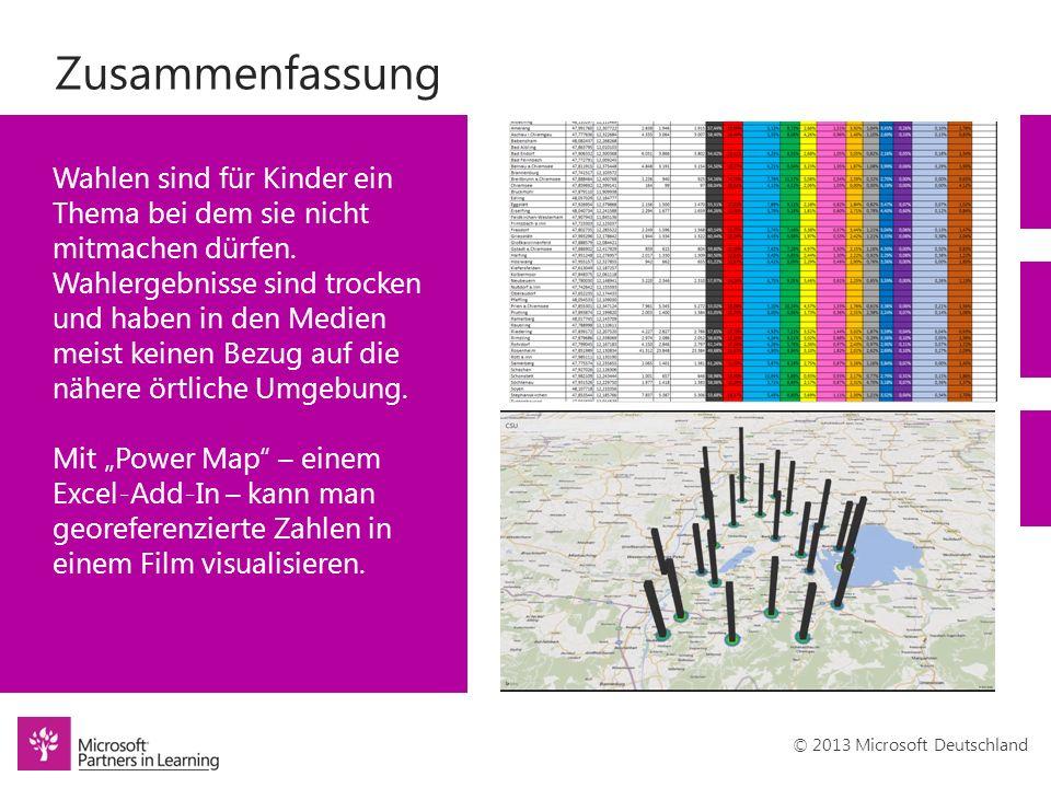 © 2013 Microsoft Deutschland Zusammenfassung Wahlen sind für Kinder ein Thema bei dem sie nicht mitmachen dürfen. Wahlergebnisse sind trocken und habe
