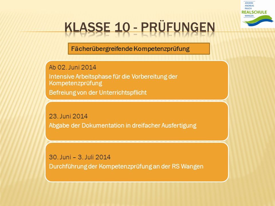Ab 02. Juni 2014 Intensive Arbeitsphase für die Vorbereitung der Kompetenzprüfung Befreiung von der Unterrichtspflicht 23. Juni 2014 Abgabe der Dokume