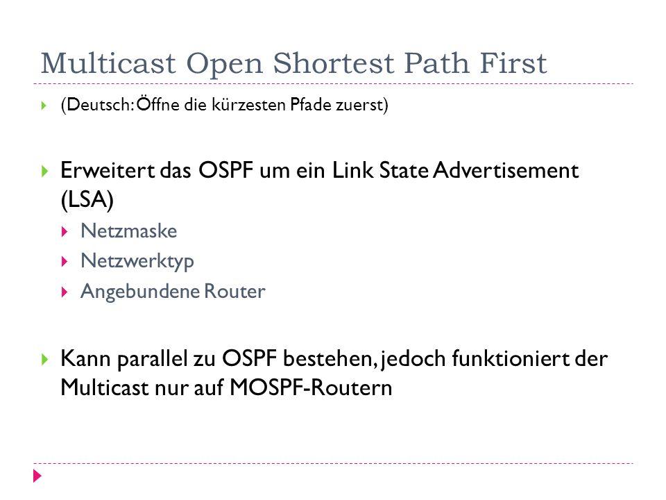 Multicast Open Shortest Path First (Deutsch: Öffne die kürzesten Pfade zuerst) Erweitert das OSPF um ein Link State Advertisement (LSA) Netzmaske Netz
