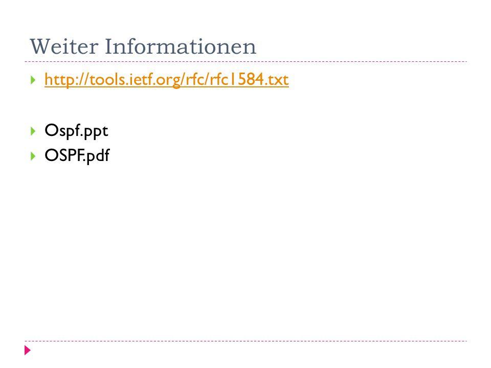 Weiter Informationen http://tools.ietf.org/rfc/rfc1584.txt Ospf.ppt OSPF.pdf