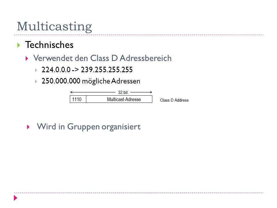 Multicasting Technisches Verwendet den Class D Adressbereich 224.0.0.0 -> 239.255.255.255 250.000.000 mögliche Adressen Wird in Gruppen organisiert