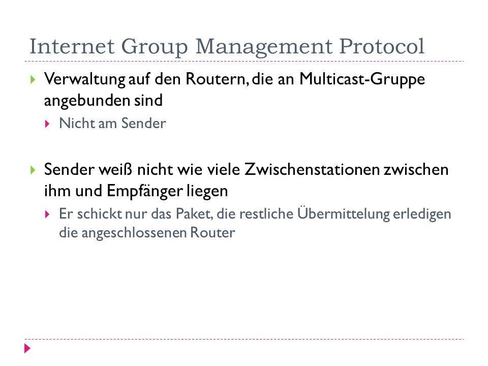 Internet Group Management Protocol Verwaltung auf den Routern, die an Multicast-Gruppe angebunden sind Nicht am Sender Sender weiß nicht wie viele Zwi