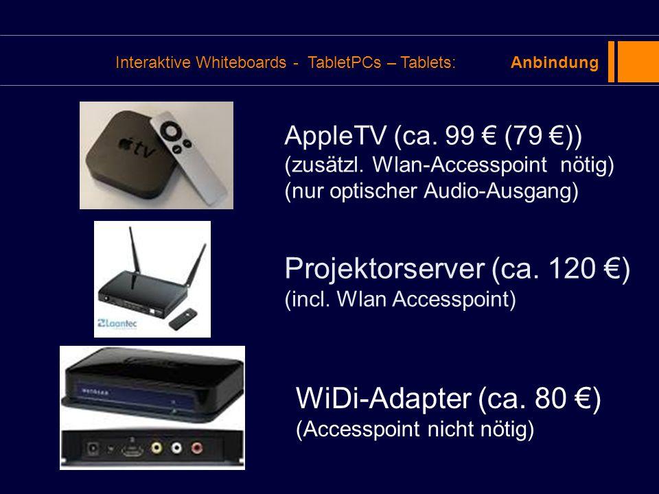 AppleTV (ca. 99 (79 )) (zusätzl. Wlan-Accesspoint nötig) (nur optischer Audio-Ausgang) Projektorserver (ca. 120 ) (incl. Wlan Accesspoint) WiDi-Adapte