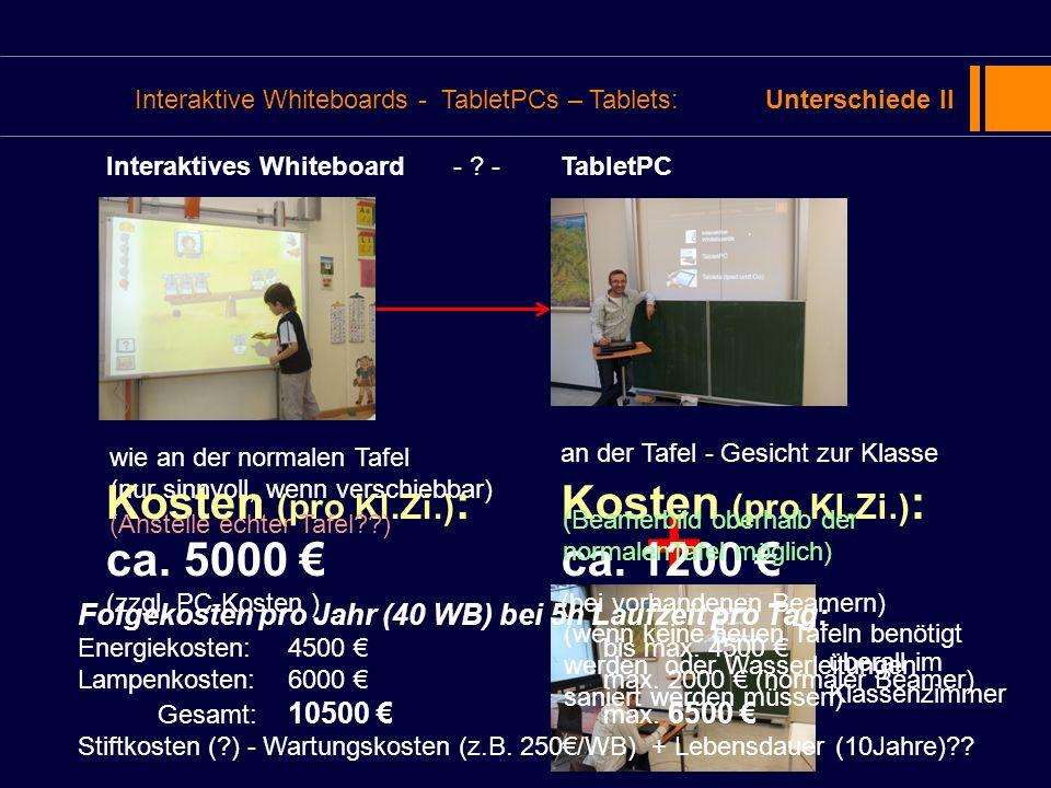 Interaktive Whiteboards - TabletPCs – Tablets:Unterschiede II wie an der normalen Tafel (nur sinnvoll, wenn verschiebbar) an der Tafel - Gesicht zur K