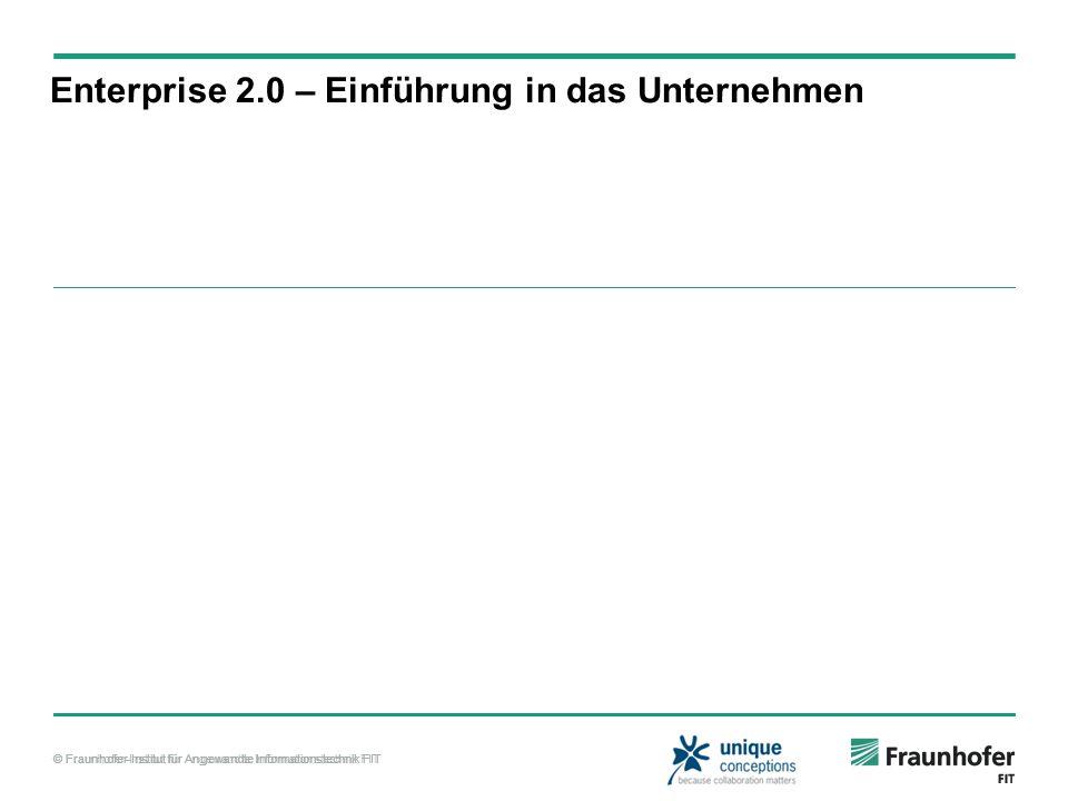 © Fraunhofer-Institut für Angewandte Informationstechnik FIT Enterprise 2.0 – Einführung in das Unternehmen