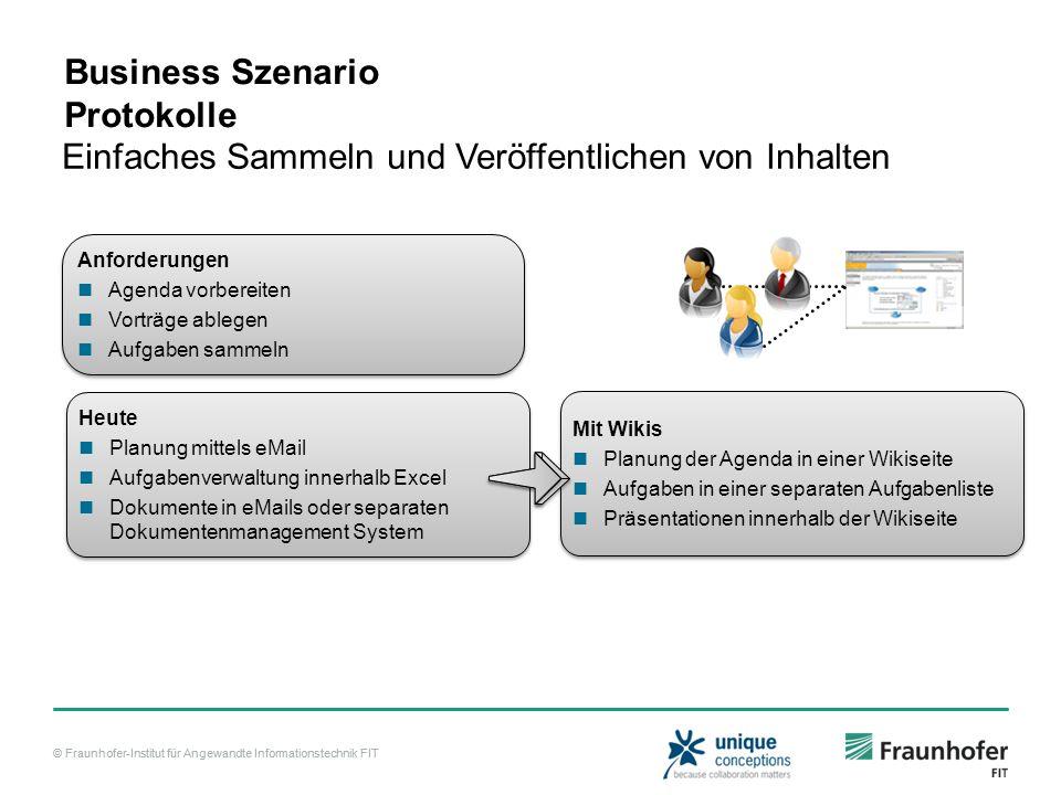 © Fraunhofer-Institut für Angewandte Informationstechnik FIT Business Szenario Protokolle Einfaches Sammeln und Veröffentlichen von Inhalten Today Coo