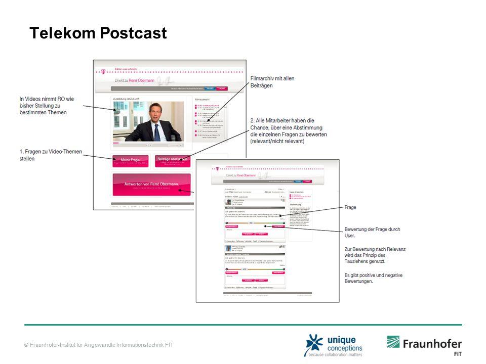 © Fraunhofer-Institut für Angewandte Informationstechnik FIT Telekom Postcast