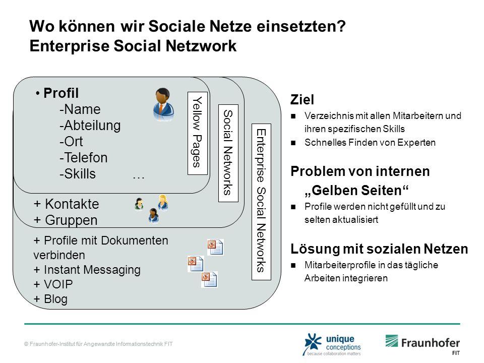 © Fraunhofer-Institut für Angewandte Informationstechnik FIT Wo können wir Sociale Netze einsetzten? Enterprise Social Netzwork Ziel Verzeichnis mit a