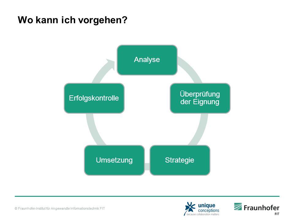 © Fraunhofer-Institut für Angewandte Informationstechnik FIT Wo kann ich vorgehen? Analyse Überprüfung der Eignung StrategieUmsetzungErfolgskontrolle