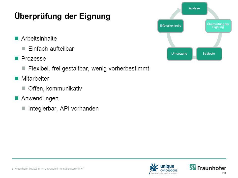 © Fraunhofer-Institut für Angewandte Informationstechnik FIT Überprüfung der Eignung Arbeitsinhalte Einfach aufteilbar Prozesse Flexibel, frei gestalt
