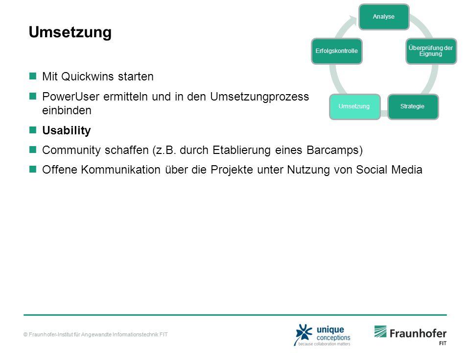 © Fraunhofer-Institut für Angewandte Informationstechnik FIT Umsetzung Mit Quickwins starten PowerUser ermitteln und in den Umsetzungprozess einbinden
