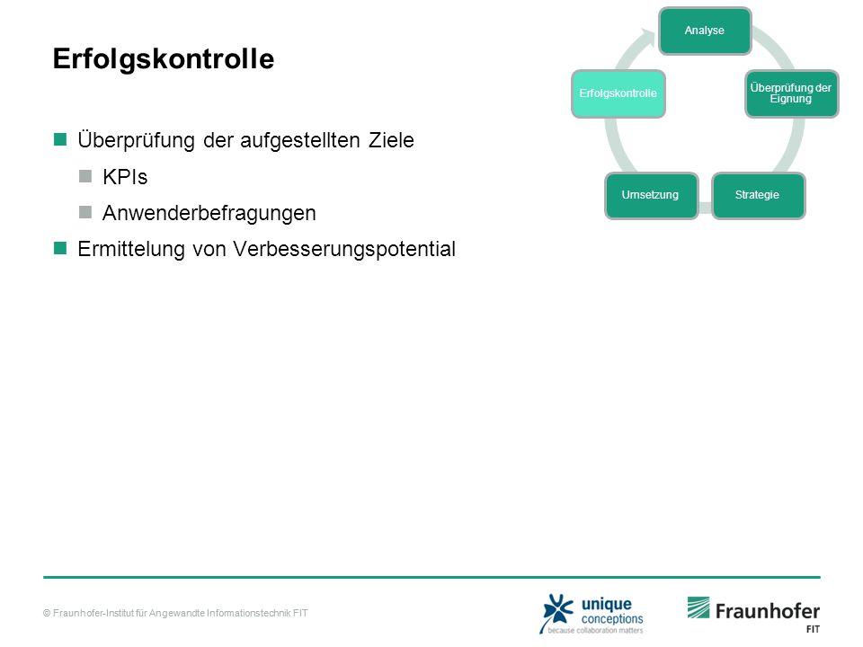 © Fraunhofer-Institut für Angewandte Informationstechnik FIT Erfolgskontrolle Überprüfung der aufgestellten Ziele KPIs Anwenderbefragungen Ermittelung