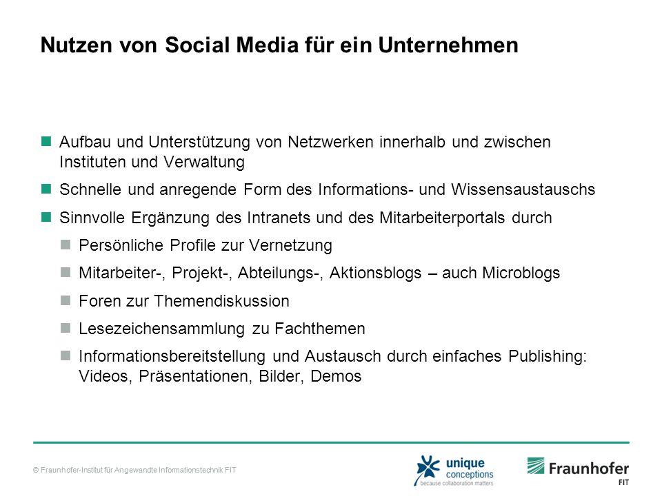 © Fraunhofer-Institut für Angewandte Informationstechnik FIT Nutzen von Social Media für ein Unternehmen Aufbau und Unterstützung von Netzwerken inner