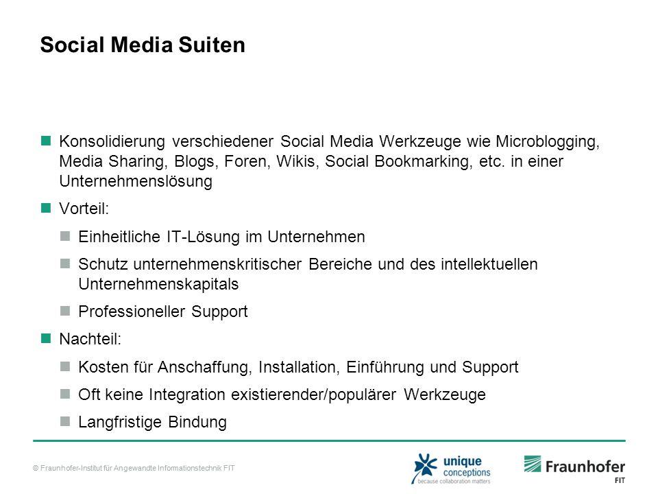 © Fraunhofer-Institut für Angewandte Informationstechnik FIT Social Media Suiten Konsolidierung verschiedener Social Media Werkzeuge wie Microblogging