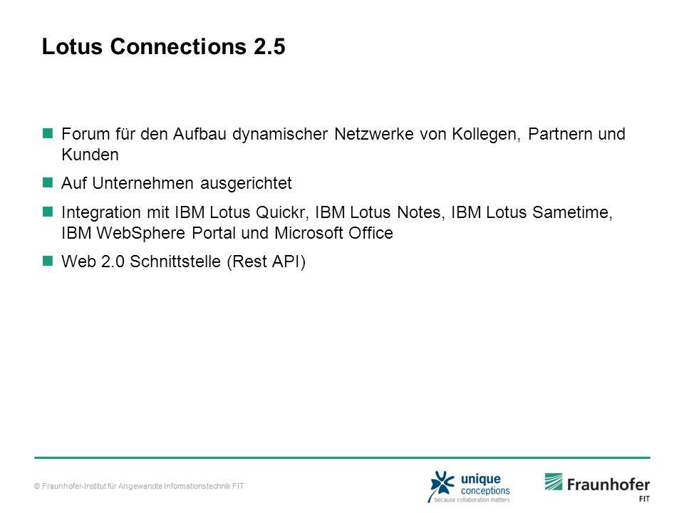 © Fraunhofer-Institut für Angewandte Informationstechnik FIT Lotus Connections 2.5 Forum für den Aufbau dynamischer Netzwerke von Kollegen, Partnern u