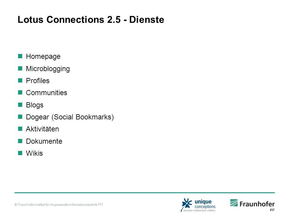 © Fraunhofer-Institut für Angewandte Informationstechnik FIT Lotus Connections 2.5 - Dienste Homepage Microblogging Profiles Communities Blogs Dogear