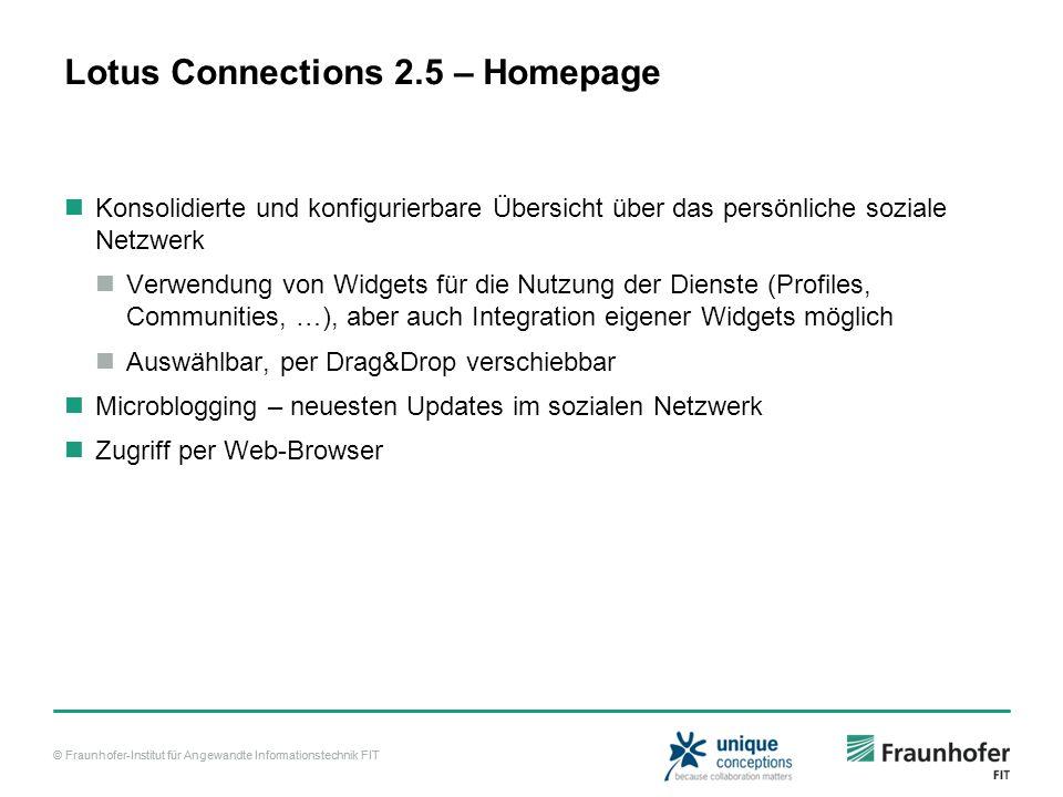 © Fraunhofer-Institut für Angewandte Informationstechnik FIT Lotus Connections 2.5 – Homepage Konsolidierte und konfigurierbare Übersicht über das per