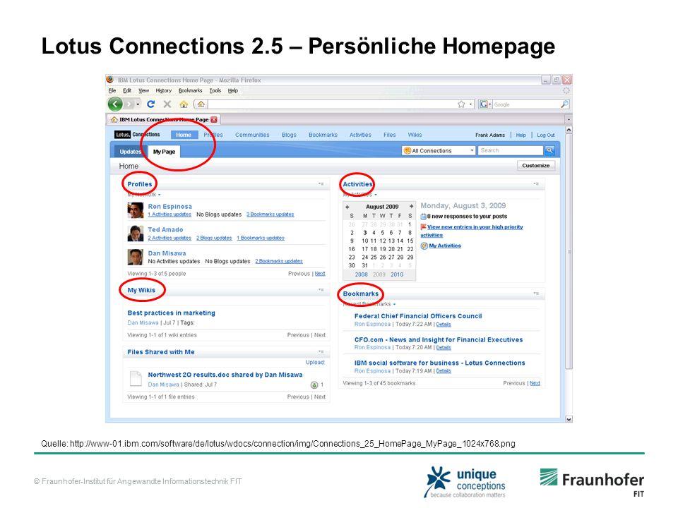 © Fraunhofer-Institut für Angewandte Informationstechnik FIT Lotus Connections 2.5 – Persönliche Homepage Quelle: http://www-01.ibm.com/software/de/lo