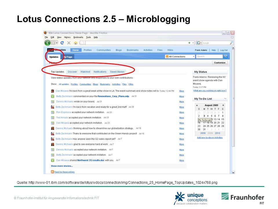 © Fraunhofer-Institut für Angewandte Informationstechnik FIT Lotus Connections 2.5 – Microblogging Quelle: http://www-01.ibm.com/software/de/lotus/wdo