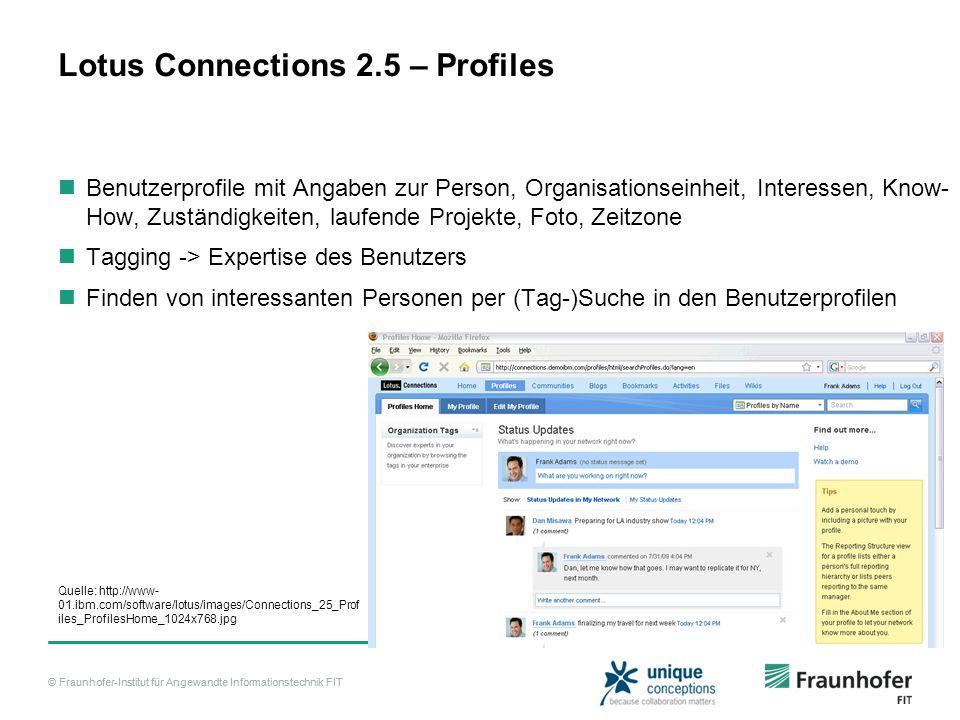 © Fraunhofer-Institut für Angewandte Informationstechnik FIT Lotus Connections 2.5 – Profiles Benutzerprofile mit Angaben zur Person, Organisationsein