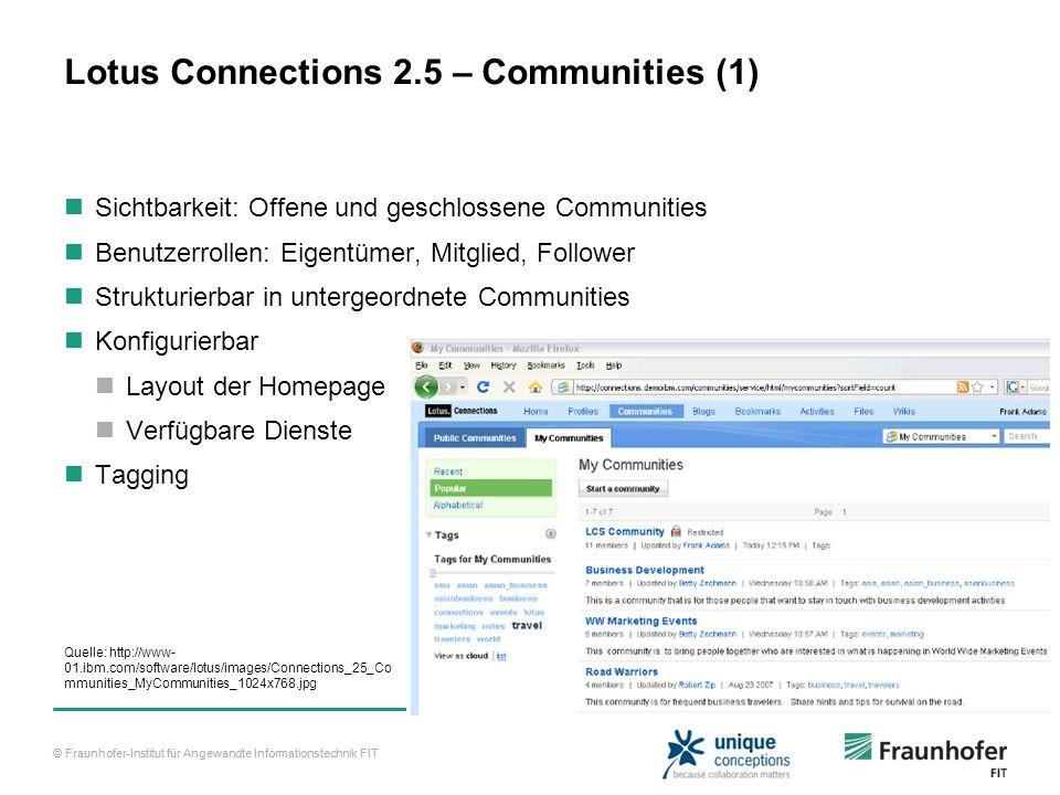 © Fraunhofer-Institut für Angewandte Informationstechnik FIT Lotus Connections 2.5 – Communities (1) Sichtbarkeit: Offene und geschlossene Communities