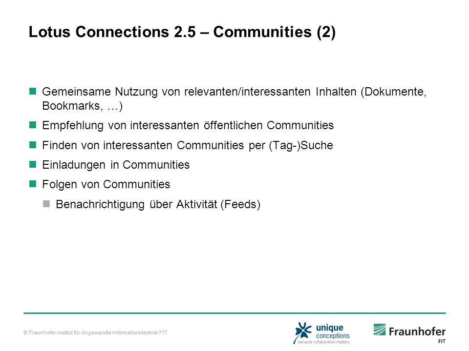 © Fraunhofer-Institut für Angewandte Informationstechnik FIT Lotus Connections 2.5 – Communities (2) Gemeinsame Nutzung von relevanten/interessanten I