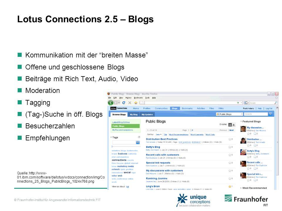© Fraunhofer-Institut für Angewandte Informationstechnik FIT Lotus Connections 2.5 – Blogs Kommunikation mit der breiten Masse Offene und geschlossene