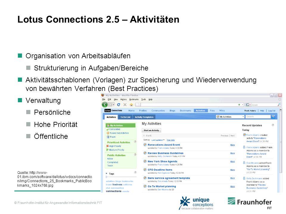 © Fraunhofer-Institut für Angewandte Informationstechnik FIT Lotus Connections 2.5 – Aktivitäten Organisation von Arbeitsabläufen Strukturierung in Au