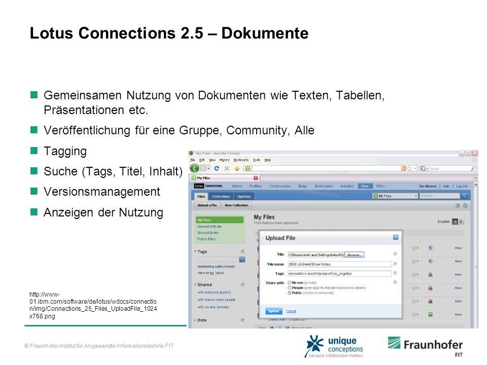 © Fraunhofer-Institut für Angewandte Informationstechnik FIT Lotus Connections 2.5 – Dokumente Gemeinsamen Nutzung von Dokumenten wie Texten, Tabellen