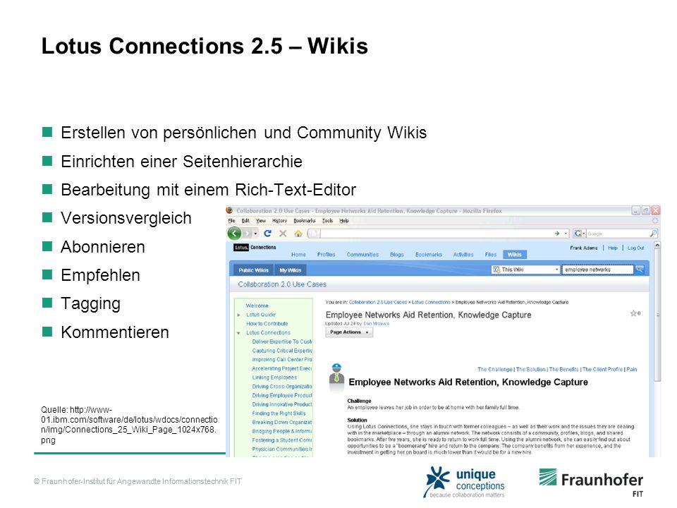 © Fraunhofer-Institut für Angewandte Informationstechnik FIT Lotus Connections 2.5 – Wikis Erstellen von persönlichen und Community Wikis Einrichten e