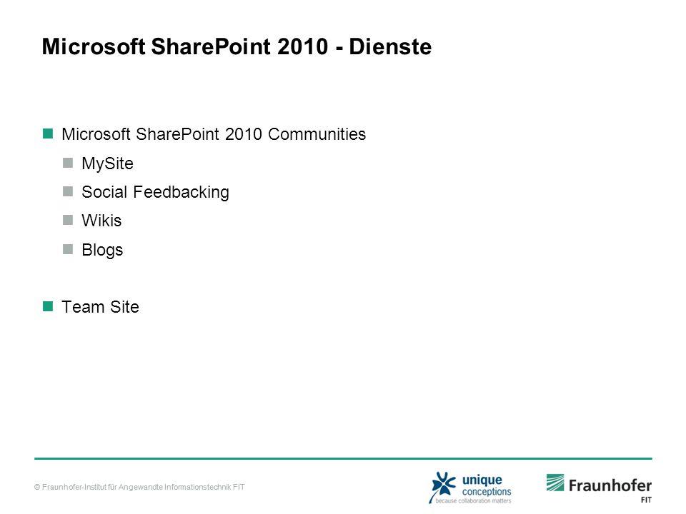 © Fraunhofer-Institut für Angewandte Informationstechnik FIT Microsoft SharePoint 2010 - Dienste Microsoft SharePoint 2010 Communities MySite Social F