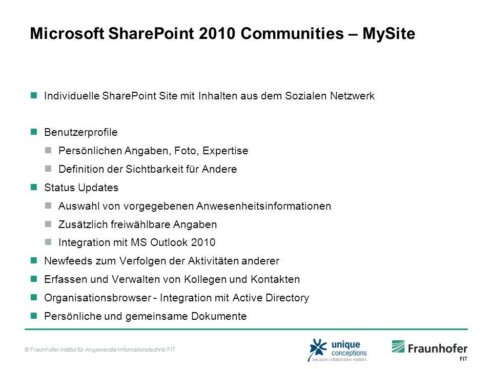 © Fraunhofer-Institut für Angewandte Informationstechnik FIT Microsoft SharePoint 2010 Communities – MySite Individuelle SharePoint Site mit Inhalten