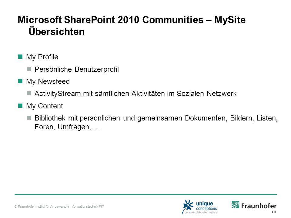 © Fraunhofer-Institut für Angewandte Informationstechnik FIT Microsoft SharePoint 2010 Communities – MySite Übersichten My Profile Persönliche Benutze
