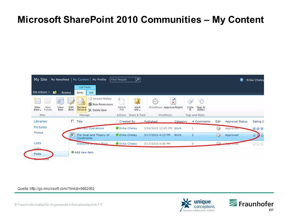 © Fraunhofer-Institut für Angewandte Informationstechnik FIT Microsoft SharePoint 2010 Communities – My Content Quelle: http://go.microsoft.com/?linki