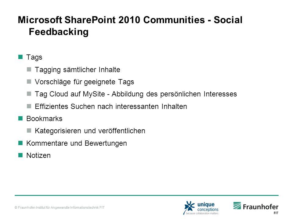 © Fraunhofer-Institut für Angewandte Informationstechnik FIT Microsoft SharePoint 2010 Communities - Social Feedbacking Tags Tagging sämtlicher Inhalt