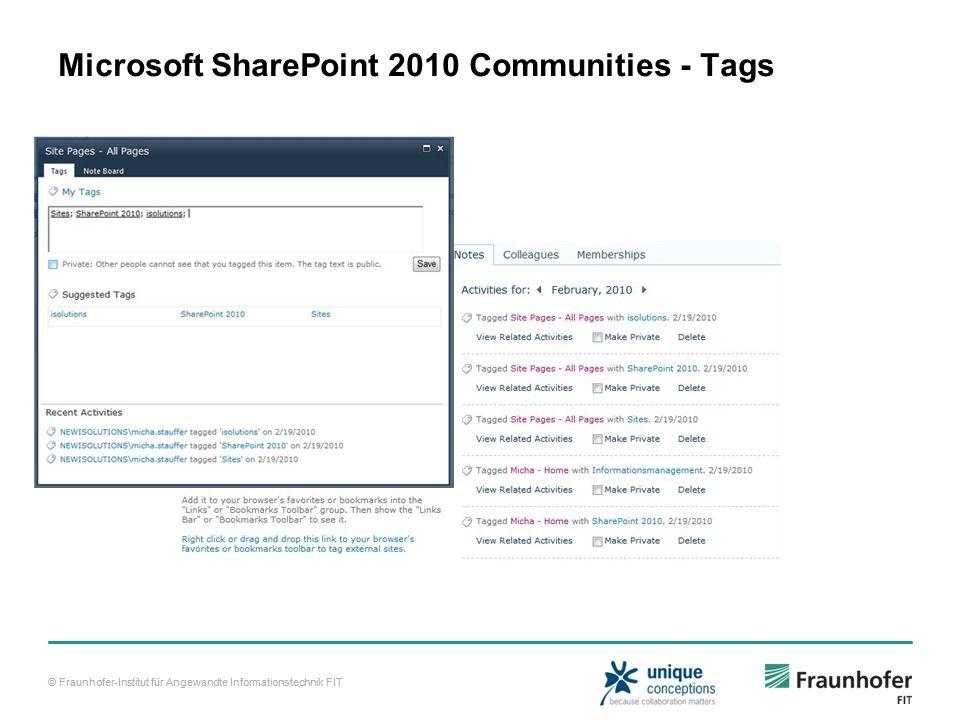 © Fraunhofer-Institut für Angewandte Informationstechnik FIT Microsoft SharePoint 2010 Communities - Tags