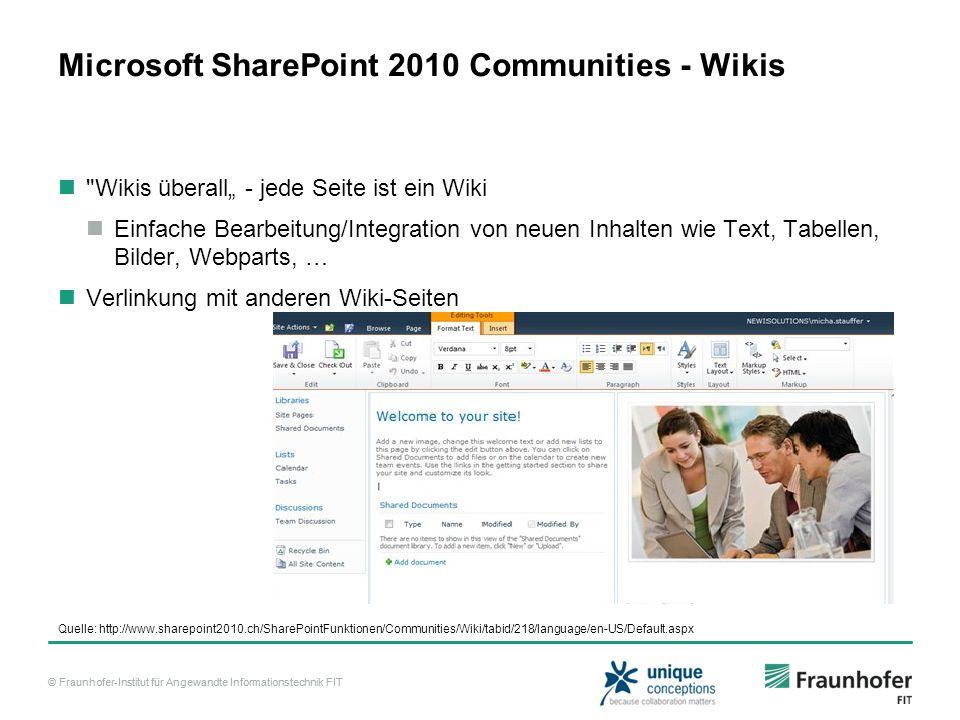 © Fraunhofer-Institut für Angewandte Informationstechnik FIT Microsoft SharePoint 2010 Communities - Wikis
