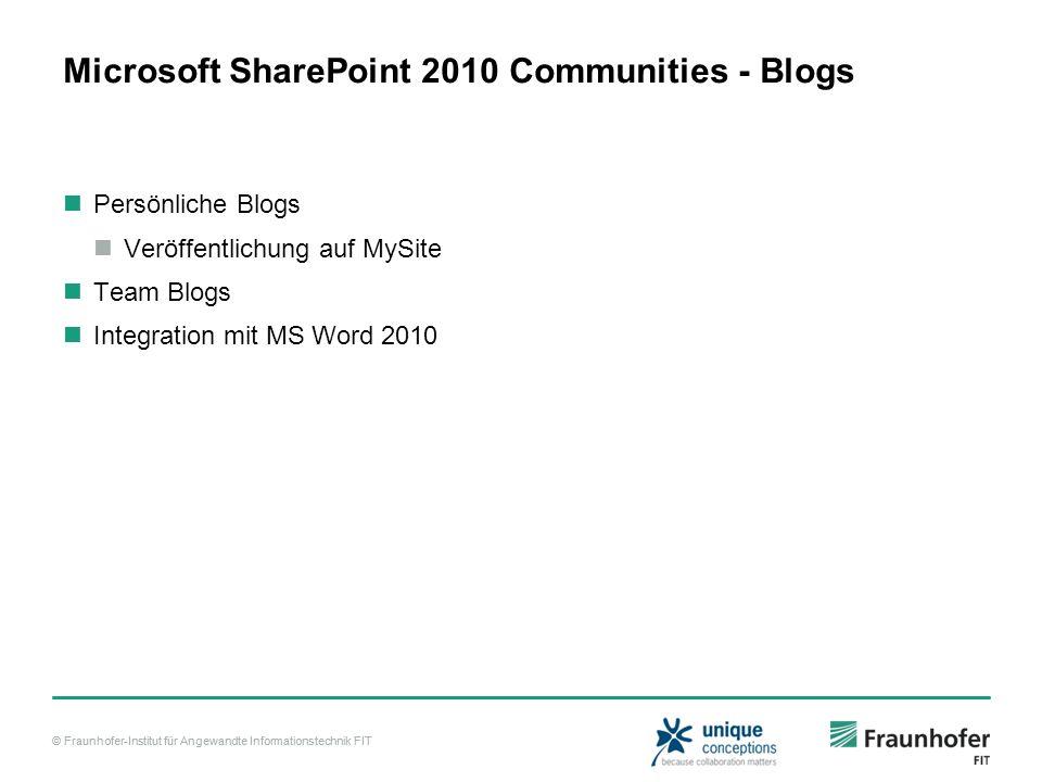 © Fraunhofer-Institut für Angewandte Informationstechnik FIT Microsoft SharePoint 2010 Communities - Blogs Persönliche Blogs Veröffentlichung auf MySi