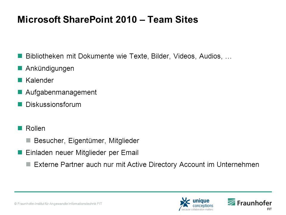 © Fraunhofer-Institut für Angewandte Informationstechnik FIT Microsoft SharePoint 2010 – Team Sites Bibliotheken mit Dokumente wie Texte, Bilder, Vide
