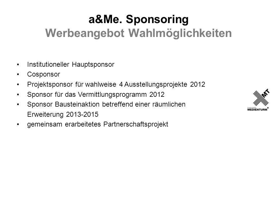 a&Me. Sponsoring Werbeangebot Wahlmöglichkeiten Institutioneller Hauptsponsor Cosponsor Projektsponsor für wahlweise 4 Ausstellungsprojekte 2012 Spons