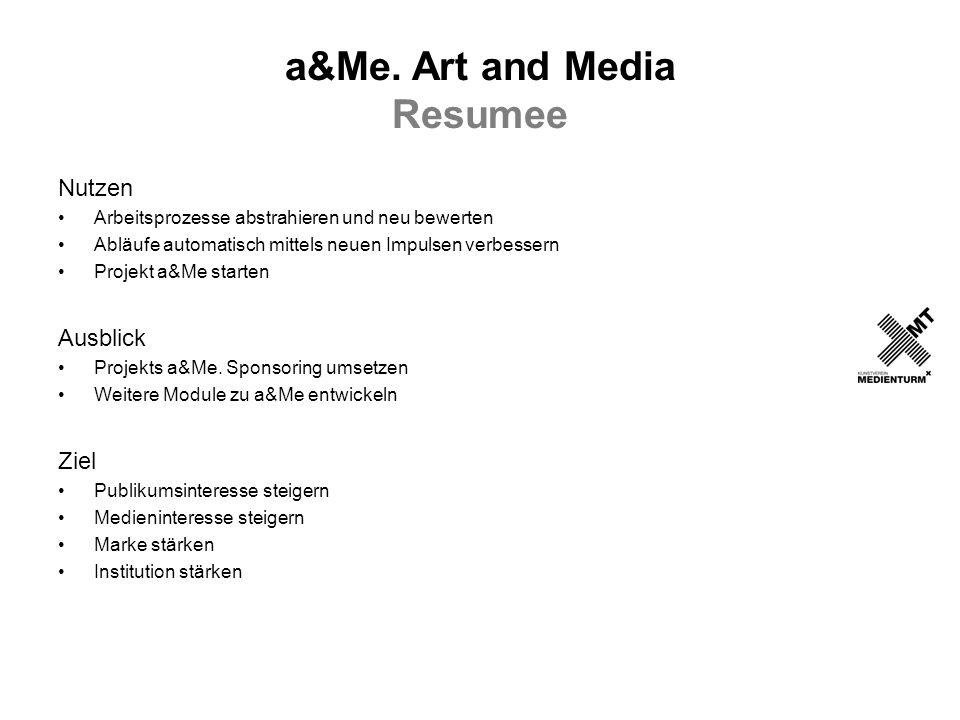 a&Me. Art and Media Resumee Nutzen Arbeitsprozesse abstrahieren und neu bewerten Abläufe automatisch mittels neuen Impulsen verbessern Projekt a&Me st