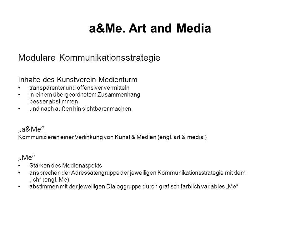 a&Me. Art and Media Modulare Kommunikationsstrategie Inhalte des Kunstverein Medienturm transparenter und offensiver vermitteln in einem übergeordnete
