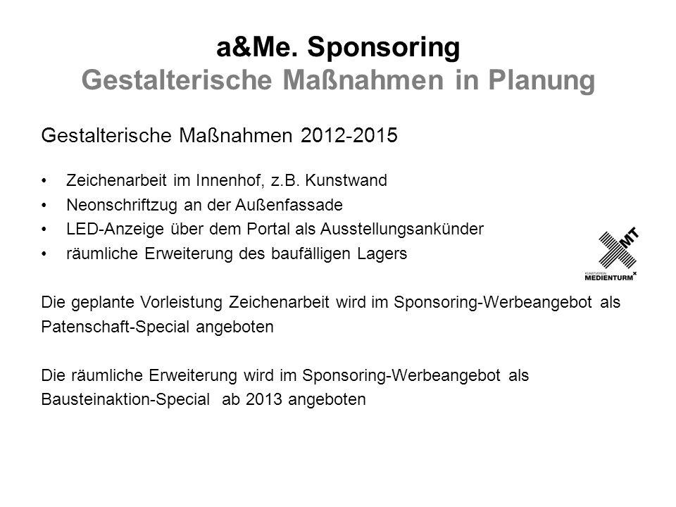 a&Me. Sponsoring Gestalterische Maßnahmen in Planung Gestalterische Maßnahmen 2012-2015 Zeichenarbeit im Innenhof, z.B. Kunstwand Neonschriftzug an de