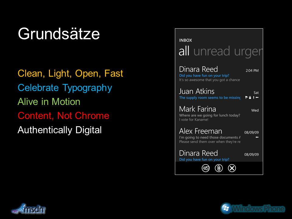 Grundsätze Clean, Light, Open, Fast Celebrate Typography Alive in Motion Content, Not Chrome Authentically Digital