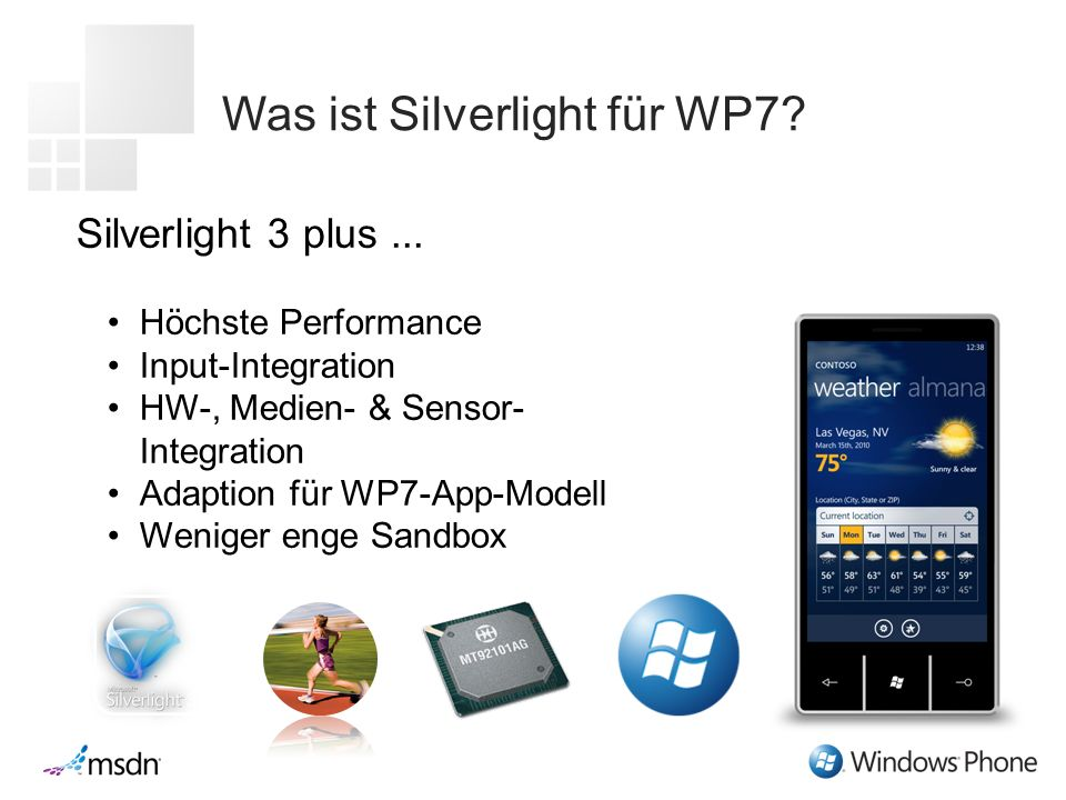 Was ist Silverlight für WP7. Silverlight 3 plus...